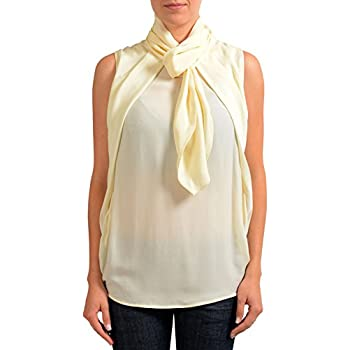Amazon.com  Dsquared2 100% Silk Beige Sleeveless Women s Blouse Top ...