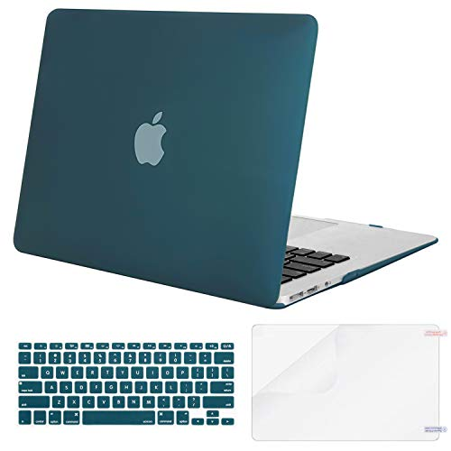 MOSISO Plastic Hard Case & Keyboard Cover & Screen Protector Only Compatible MacBook Air 13 Inch (Models: A1369 & A1466, Older Version 2010-2017 Release), Deep Teal