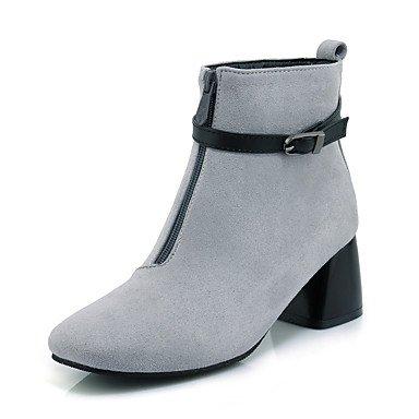 Heart&M Mujer Zapatos Semicuero Otoño Invierno Botas de Moda Botas de Combate Botas Tacón Robusto Dedo cuadrada Botines Hasta el Tobillo Hebilla