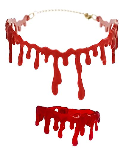 Dripping Blood Halloween Party Bracelet & Necklace Vampire Costume Accessory Set