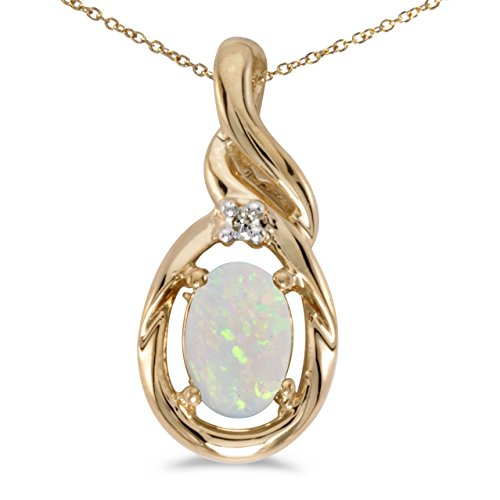 10k Yellow Gold Oval Opal And Diamond Pendant with 16