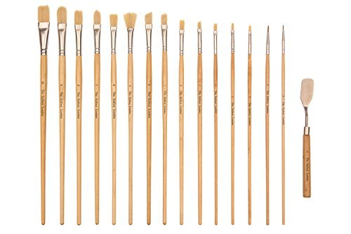 The Gallery London Natural Bristle Hair Professional Artist Brushes (15 Piece Set) Plus Palette Knife