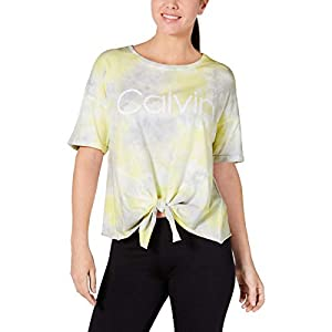 Best Epic Trends 41SAp%2BVi3cL._SS300_ Calvin Klein Performance Womens Tie-Dye Tie Front T-Shirt Yellow M