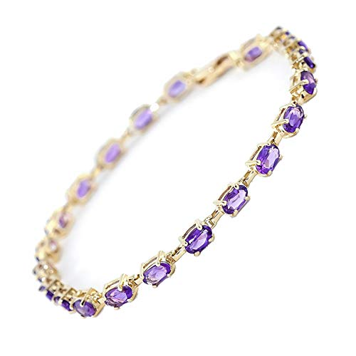 Galaxy Gold 14k Solid Yellow Gold Genuine Bracelet with Purple Amethyst 14k Solid White Gold Genuine Bracelet with Purple Amethyst - Size 7.5