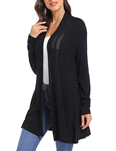 iClosam Womens Casual Long Sleeve Open Front Cardigan Sweater Black