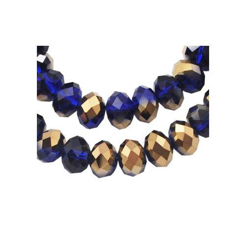 70+ Dark Blue/Gold Czech Crystal Glass 6 x 8mm Faceted Rondelle Beads HA20505 (Charming Beads) (Beads Rondelle Glass Czech)
