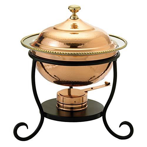 (OKSLO Round decor copper chafing dish)