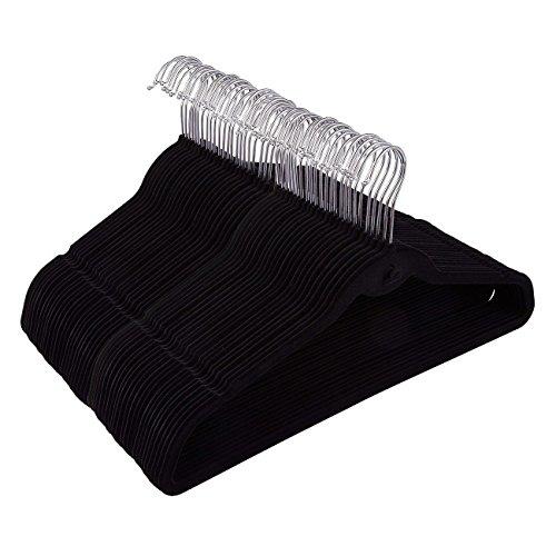 50 Pack Black Velvet Hangers - Non Slip Hangers with Cascading Hooks - Thin Hangers - Non Slip Hangers, Black, 17.5 x 9.2 x 0.2 Inches
