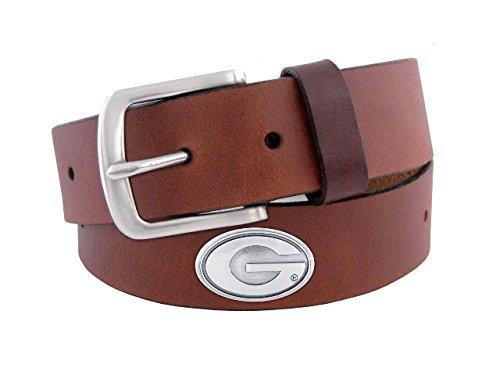 NCAA Georgia Bulldogs Brown Leather Concho Belt, 38