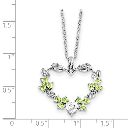 Rhodium-Plated Sterling Silver CZ Lucky To Have You Heart Pendant Necklace 24x30MM 18