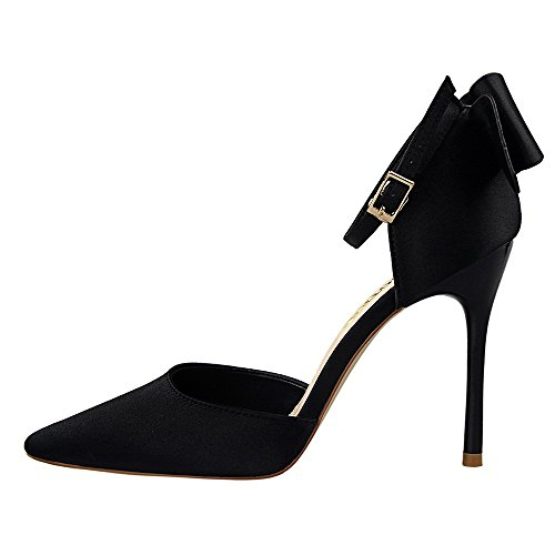 Con Dulce Tacón Poco Boca Cinta Acentuado Zapatos Sandalias Negro Satén La Lazo De Xiaoqi Alto Profunda Hermosos Hueco qErxpSFnE