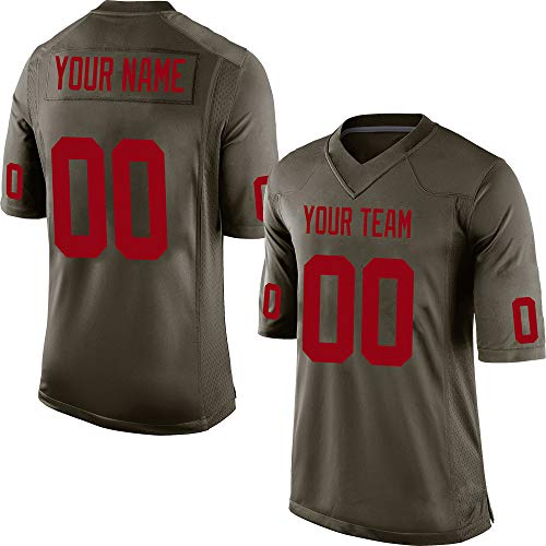 Red Embroidered Football Jersey - Customized Women's Camo Green Salute to Service Football Jersey Embroidered Team Name and Your Numbers,Red Size XS