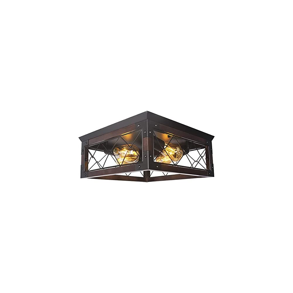 Insfashble Farmhouse Recessed Wood Ceiling Light, Industrial Square Iron Cage Ceiling Light Fixture with 4 E26 Sockets…