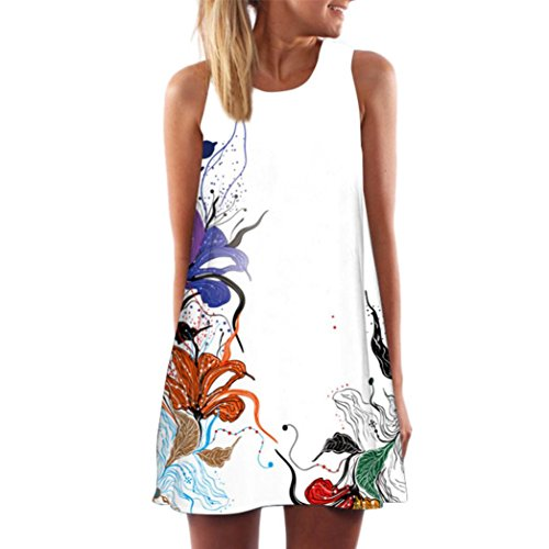 (FORUU Womens Girls Vintage Boho Summer Sleeveless Beach Printed Short Mini Dress (S, White 2))