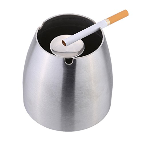 Ashtray Stainless Steel Windproof Portable Taper Cigarette Cigar Ash Holder with Column Bracket (Stainless Steel Ashtray compare prices)