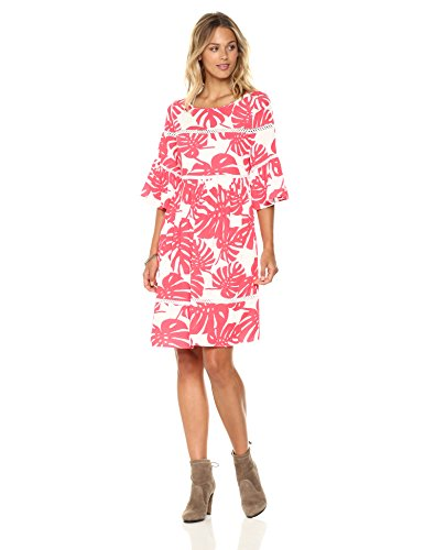 Ella Moon Women's Raquel Flutter Sleeve Swing Dress with Ladder Detail, Coral Palm Print, Small by Ella Moon