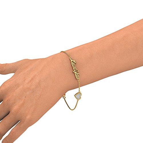 Or jaune 18K, 0.086CT TW Round-cut-diamond (Ij| SI) Identification-bracelets
