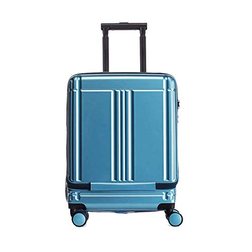 SNUA Business Travel Trolley Case 20 Inch Front Opening Computer PC Lightweight 4 Wheel Fine Tuning and TSA Customs Locking Chassis,Suitcase-Blue