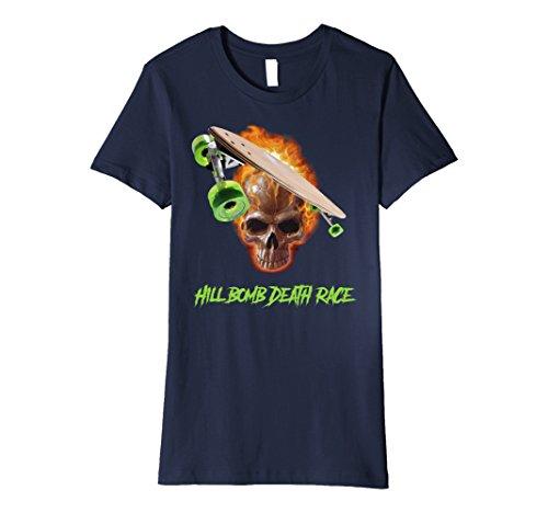 Womens Skeleton Skater Skull Skateboard T-Shirt Tee Shirt XL Navy