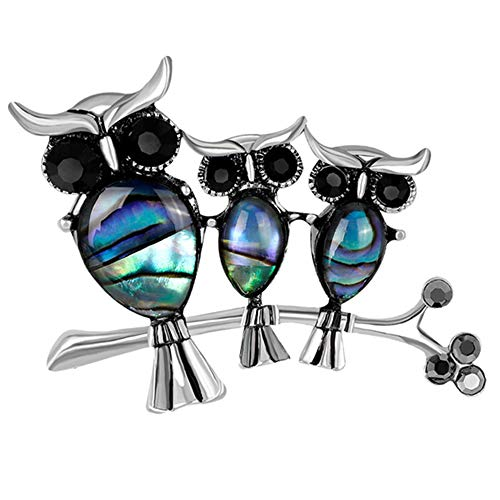 Abalone Shell Cute Owl Mom and 2 Baby Diamond Brooch Pin Wedding/Bouquet (Silver)