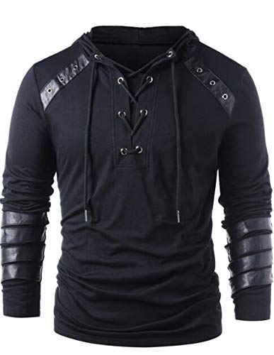 Faux Leather Lace Up Hoodie New Halloween Men Drawstring Hoodie Pullover -