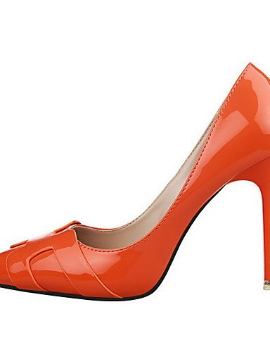 GGX/ Damen-High Heels-Lässig-Lackleder-Stöckelabsatz-Absätze / Spitzschuh / Geschlossene Zehe-Schwarz / Silber / Orange black-us5 / eu35 / uk3 / cn34