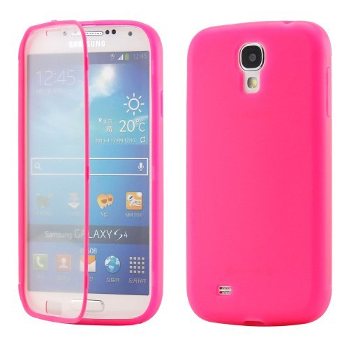 Hot Pink Hybrid TPU Wrap Up Case w/ Built in Screen Protector Stand for Samsung Galaxy S4 i9500