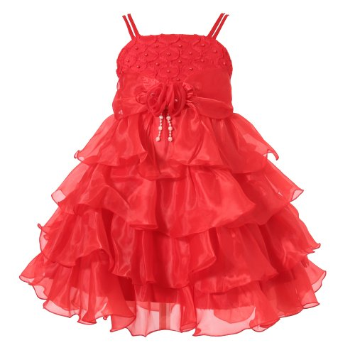 Richie House Girls' Pink Layered Dress with Rosette and Pearl Accents RH0918-F-Size 10-11-FBA, Red