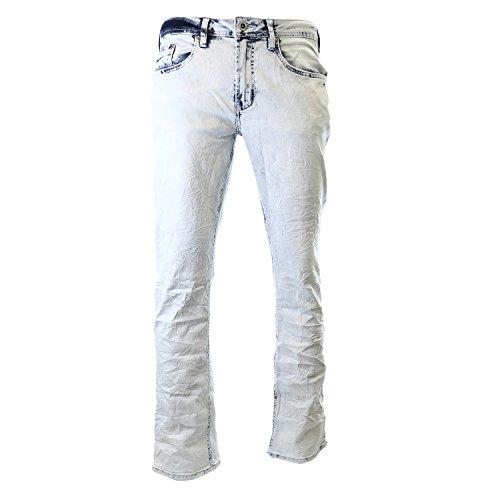 Buffalo David Bitton Men's Evan Super Slim Staright Leg Jean in Morelia, Light Blue Crinkled, 34x32 Crinkled Wash Denim Jeans