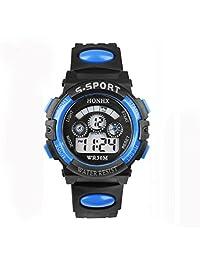 Fitfulvan Fashion Outdoors Sports Wrist Watch,Waterproof Children Boy Digital LED Quartz Alarm Date Sports Wrist Watch