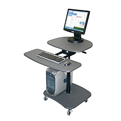 Offex Mobile Hydraulic Adjustable Height Multimedia Computer Desk Workstation Carts Stand