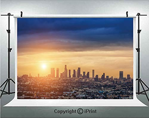 City Photography Backdrops Sunrise at Los Angeles Urban Architecture Tranquil Scenery Majestic Sky,Birthday Party Background Customized Microfiber Photo Studio Props,10x6.5ft,Navy Blue Apricot Ivory