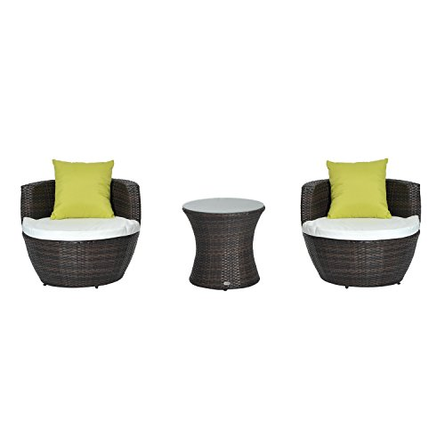 Outsunny Conservatory Patio Outdoor Garden Rattan Furniture Vase Chair Set Stackable 3 PC Tea Furniture Set FIRE RESISTANT Sponge Already Assembled (Brown)