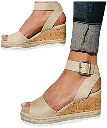SSYUNO Womens Wedge Sandals Comfy Espadrille Summer Peep Toe Ankle Buckle Platform Wedges Heels