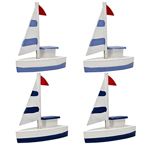 Set of 4 Decorative Miniature Nautical Wooden Sailboats Toy Ship Model Figurine For Home Kitchen Bathroom Coastal Fishing Beach Theme Bedroom Baby Shower and Wedding Party Supplies (Baby Shower Beach Theme)