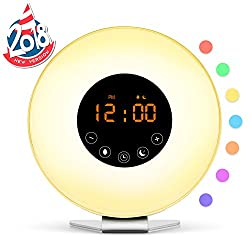 Sunrise Simulation Alarm Clock [2018 Upgraded] Sleep and Wake Up Light, FM Radio, 6 Natural Sounds, 7 Adjustable Colors Sunset Night Light for Bedside and Kids, Digital Clock for Heavy Sleepers