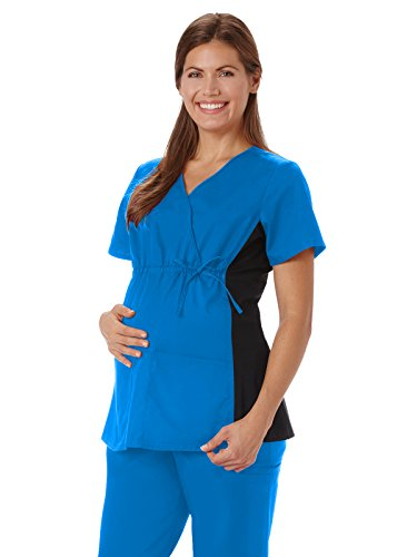 Fundamentals 14375 Women's Maternity Mock Wrap Scrub Top Royal 2XL
