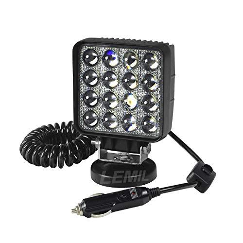 LEMIL 48W 5D Lens LED Work Light 12V Spot Light Driving Fog Light Off Road Spot Beam Lamp Boat Light with Magnetic Base Waterproof Emergency Light for Truck SUV 12V 24V Searchlight