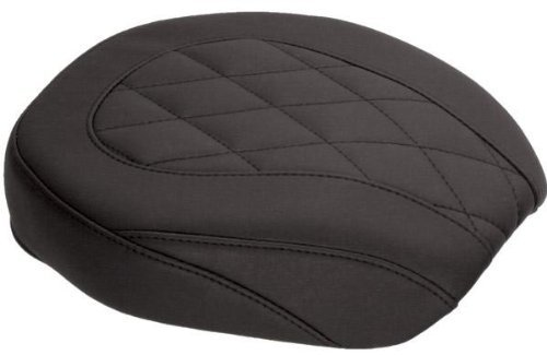 Mustang Black Wide Tripper Passenger Seat with Diamond Stitching - Solo Harley Mustang Seat