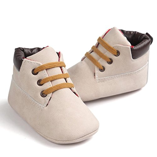 Ouneed® Krabbel schuhe , Baby High Cut Kleinkind Weiche Sole Leder Schuhe Säugling Junge Mädchen Kleinkind Schuhe Beige
