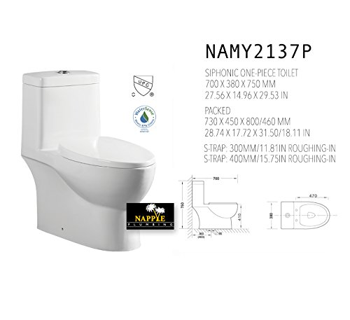 NAMY2137P Luxury SIPHONIC White Porcelain One-Piece Construction Toilet, With Round Seat and Comfort Height, A Siphonic High Efficiency Eco-Friendly Action w/ Dual Flush 1.6/1.0GPF, UPC Certified by Amalia (Image #1)