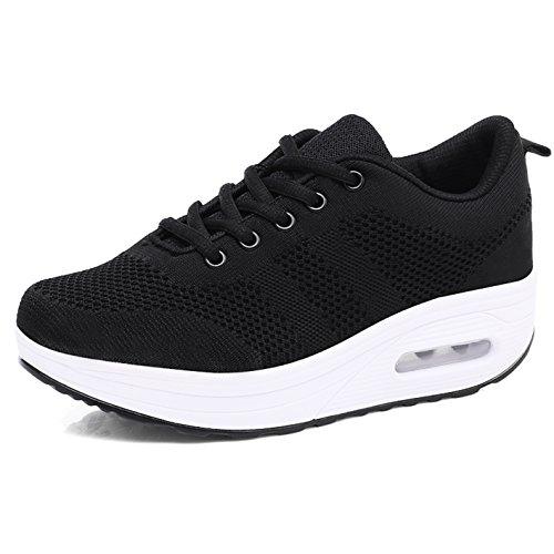 Chaussures 42 noir 35 Mailles Taille Respirantes Femme Marche Baskets De Sneakers B Plateforme Compensées Léger Sport rwWCqrf4