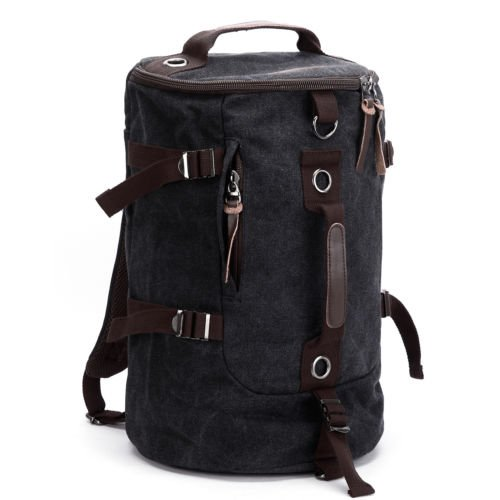 The Pecan Man Black Vintage Canvas Satchel School Bag Travel Backpack Hiking Camping Bag