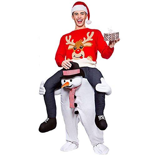 LIN&LV Party Magic Amusing Pants Piggyback Ride On Riding Animal Shoulder Adult Cosplay (Piggyback Costume Snowman)