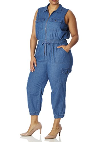 [28343XR-BLU-1X] Womens Junior Plus Size Denim Jumpsuit Sleeveless Elastic Waist (Plus Size Capri Suits)