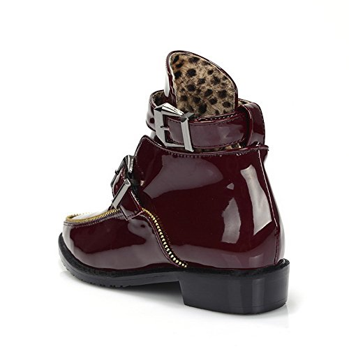 4 Heels Low Round M B Boots US Toe Winkle Patent Closed PU Claret Leather Solid Pinker with AmoonyFashionWomens 4IAntx6dwn