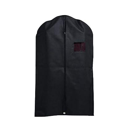 TOPBATHY - 10 Fundas para Trajes, Vestidos, Chaquetas, Camisetas, con Cremallera y asa para Viajes, Color Negro