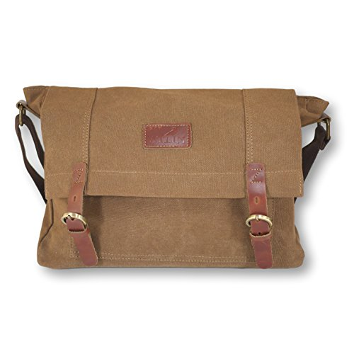 "Price comparison product image ATLIN Vintage Canvas and Leather Messenger Bag - Carry Your 15"" Laptop in Style"