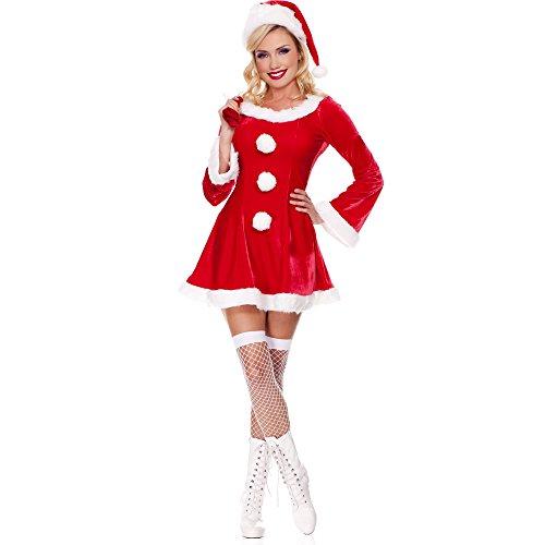 [ZNFQC Men Women Red Christmas Santa's Costume Couple Outfits (Women Red Christmas Costume)] (Plus Size Simply Santa Costumes)