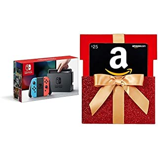Nintendo Switch – Neon Red and Neon Blue Joy-Con with Gift Card in a Red Gift Box Reveal